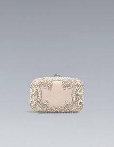 Satin and Pearl Box Clutch (Zara, $89.90) - blush pink, embellished, multi-jeweled, mixed metal, girly, evening, light.