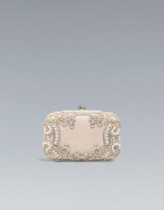 SATIN AND PEARLS BOX BAG -  ZARA United Kingdom