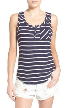Socialite Stripe Ribbed Henley Tank available at #Nordstrom