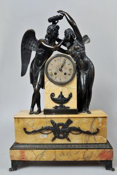 """19""""H Antique Figural French Empire Bronze Marble Mantel Clock Amour Psyche 1835 