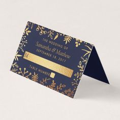 The Elegant Navy & Gold Floral Wedding Collection Place Card - romantic wedding love couple marriage wedding preparations