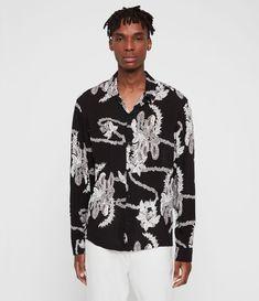 Buy AllSaints Black Kumu Hawaiian Shirt from the Next UK online shop Black Hawaiian Shirt, Vintage Hawaiian Shirts, Afro, Allsaints Looks, Formal Shirts For Men, Slim Chinos, Kimono Fabric, Black Image, Discount Clothing