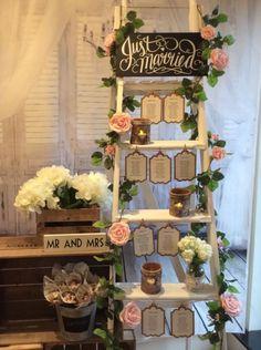 Vintage Shabby Chic Ladder Wedding Table Plan To Hire - chrySSa wedding Shabby Chic Ladder, Vintage Ladder, Vintage Shabby Chic, Wedding Table Planner, Wedding Table Seating, Wedding Tables, Creative Wedding Gifts, Wedding Gifts For Guests, Wedding Favors