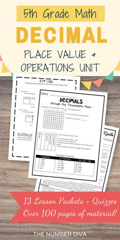 This 5th grade Decimal Unit has over 100 pages of lesson materials and worksheets covering decimal place value and decimal operations. Includes adding and subtracting decimals, multiplying and dividing decimals,  rounding decimals, comparing and ordering decimals, expanded form, and many more! - The Number Diva #decimals #decimalworksheets #5thgradedecimals #TheNumberDiva #5thGradeMath