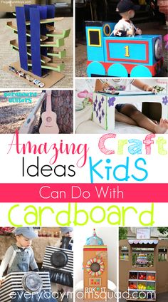 Check out these cardboard crafts, they are creative and so much fun for the whole family. All sorts of cardboard crafts for kids of every age. The perfect DIY craft project for kids. #cardboardcrafts #cardboardcraftsforkids #easycardboardcraftsforkids #diycardboardcraftsforkids #diycraftsforkids Diy Crafts For Adults, Crafts For Boys, Craft Projects For Kids, Toddler Crafts, Kid Crafts, Craft Ideas, Kids Learning Activities, Summer Activities For Kids, Time Activities