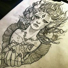 Finally finished lining this drawing I did several weeks ago. Taken by ccgwt on Sunday May 2015 Tattoo Sketches, Tattoo Drawings, Art Sketches, Backpiece Tattoo, I Tattoo, Siren Tattoo, Leg Tattoos, Cool Tattoos, Tatoos