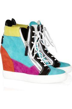 5fe73a7863c Giuseppe Zanotti - Celeste color-block suede wedge sneakers