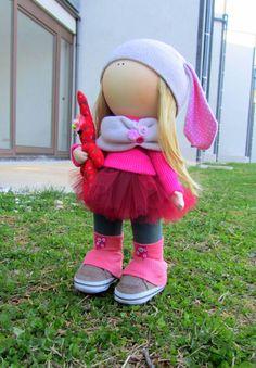Cloth doll handmade doll fabric doll Pinky от NICEDOLLSANDRABBITS