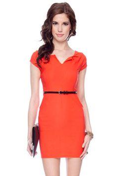Split Neck Belted Dress in Orange $28 at www.tobi.com