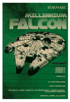Star Wars Millennium Falcon Poster Digital Print von 2ToastDesign