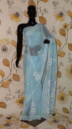 Chikankari Sky-Blue Georgette Saree - Cotton thread chikan with heavy border and pallu