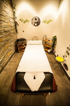 massage room, love the rock wall