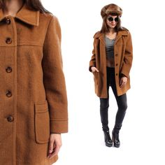Vintage 70s FUZZY Wool COAT
