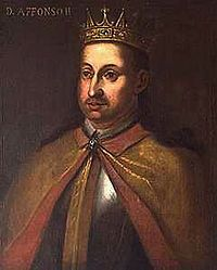 Afonso II (1185 - 1223). King of Portugal from 1212 to his death in 1223. He tried to weaken the clergy within Portugal which led to his excommunication. He married Urraca of Castile and had children.