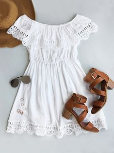 Off the shoulder is always in style. High quality, $21.99 now! Chic, sweet, and a definite must-have, this lace splicing dress has our hearts!