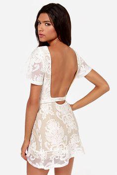 For Love & Lemons San Marcos Backless Ivory Lace Dress