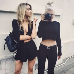 all black outfits, crop top, black jeans. Young Hearts Run Free