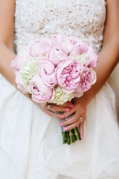 white and pink peony bouquet // photo by http://dearwesleyann.com