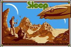 Sleep Santa Cruz and LA 2014 screenprint poster by David D'Andrea and Arik Roper.