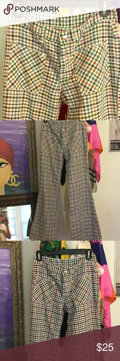 Hippie bell bottom flare pants VINTAGE Super soft and cute bell bottom pants. Maverick is the brand. These are definitely vintage. Pink blue plaid. Vintage Pants Boot Cut & Flare