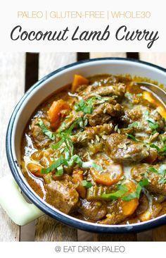 Scrummy Coconut Lamb Curry   http://eatdrinkpaleo.com.au/scrummy-paleo-curry-with-lamb-and-coconut-recipe/