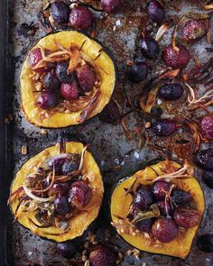 """""""Roasted Squash with Shallots, Grapes, and Sage"""" in our Meatless Thanksgiving Mains gallery Vegetarian Thanksgiving, Vegetarian Main Dishes, Thanksgiving Recipes, Sage Recipes, Recipes Dinner, Vegan Recipes, Roasted Squash, Roasted Fennel, Roasted Butternut"""