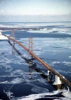 """Fifth longest suspension bridge in the world."" (As I pee my pants lol) Mackinac Bridge, Michigan. Michigan Travel, State Of Michigan, Northern Michigan, Lake Michigan, Places To Travel, Places To See, Mackinac Bridge, Mackinac Island, Great Lakes"