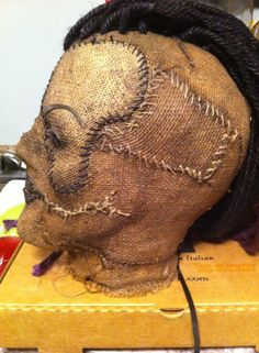 First female scarecrow mask made. All hand dyed burlap and jute.