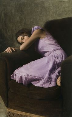 """At Rest"" - Michael Klein, 2008, oil on linen  {contemporary artist figurative sleeping female laying in chair woman lavender painting} Relaxed !!"