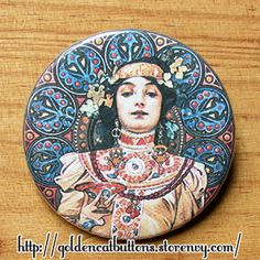This 1.5 inches (38mm) pinback button is an elegant way of carry with you one of the many wonderful illustrations from the czech Art Nouveau artist Alphonse Mucha. It is ready to wear wherever you want upon arrival, or it could also be a beautiful gift from someone special! Please note that ou...