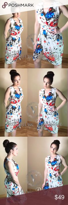 Bloomin' Beauty Ivory Floral Wrap Style Dress 🇺🇸MADE IN USA!  You will look stunning in this mega flattering wrap style dress. This dress is effortless. You throw it on, zip it up, pair with your favorite heels and go! You don't want to miss out on this beauty! Free gift w/purchase!   Features: - tulip surplice hemline - floral print - zip back -inner lining to mid thigh  - surplice vneck  Fits true to size. Buyers please feel free to ask for measurements  S(2-4) M(6-8) L(10-12)   Fabric…