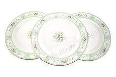 Vintage Wedgwood Green and White Salad Plates  Porcelain