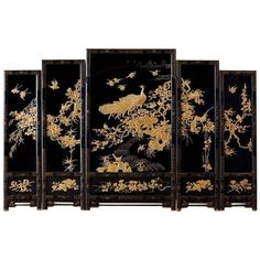 Chinese Lacquer Gilt Five Panel Peacock Screen - laca Art Furniture, Asian Furniture, Purple Furniture, Furniture Buyers, Chinese Furniture, Oriental Furniture, Furniture Design, Chinoiserie, Decorative Screens