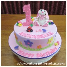 Rabbit & floral themed cake