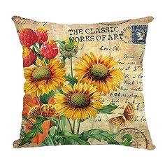 "Bluelans® 18"" X 18"" Vintage Rose Flower Printing Pillowcase Cotton Linen Deoorative Throw Pillow Case Cushion Cover"