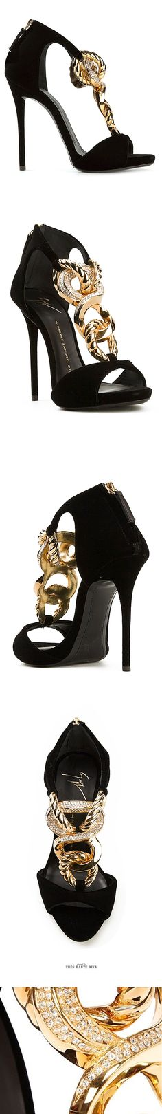 Giuseppe Zanotti Jeweled Chain Velvet Sandals ♔THD♔