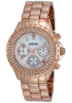 Price:$81.43 #watches August Steiner AS8031RG, This elegant ladies watch by August Steiner features a round case with two rows of genuine crystals on the bezel. This quartz timepiece has a mother of pearl dial and features a 60 minute chronograph.