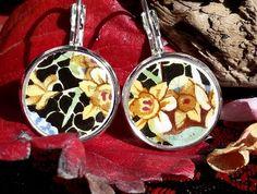 A host of Golden Daffodils Earrings Broken China Jewelry, Daffodils, Acai Bowl, Ann, Jewellery, Earrings, Food, Acai Berry Bowl, Ear Rings