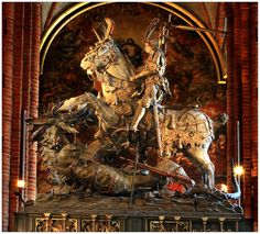 St. George and the Dragon Statue, Stockholm Cathedral - Storkyrkan von Eckhard Heybrock. Siglo XV, Bernt Notke.