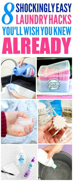 These 8 Laundry Hacks are the THE BEST! I'm so glad I found these GREAT tips! Now I have some great ways to save money and time and fix clothing! Definitely pinning!