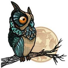 Owl watching moon machine embroidery design. Machine embroidery design. www.embroideres.com