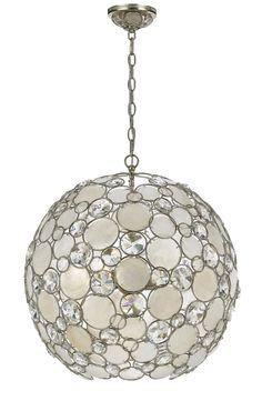 Crystorama Antique Silver Leaf Wrought Iron Chandelier 6 Lights - Antique Sliver - 529-SA