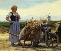 Woman with a Wheelbarrow by Julien Dupré (French, 1851 - 1910)