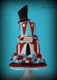 Blue, White & Red Circus Top Hat and Ruffles Cake (Mason)