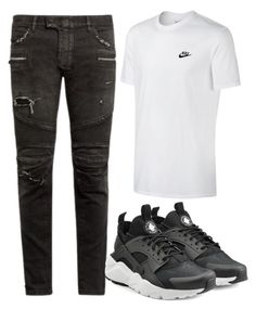 """""""M"""" by maritkrijt ❤ liked on Polyvore featuring NIKE, Balmain, men's fashion and menswear"""