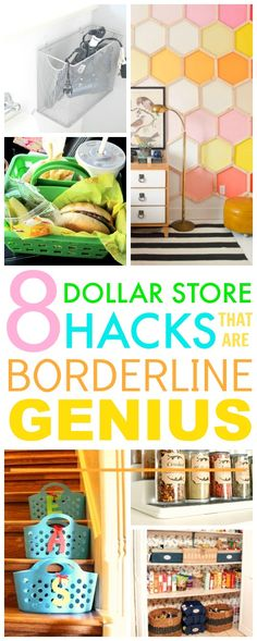 You HAVE TO check out these 8 Dollar store hacks! They're SO GOOD! I've already tried a couple and I've saved A TON of money and my home looks so cute! I'm SO GLAD I found this! Pinning for later!