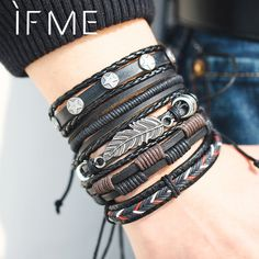 6 Design Vintage Multilayer Leather Bracelet For Men 2019 Handmade Wristband Bracelet Punk Rope Jewelry Wrap Bracelets & Bangles  6 Design V. Braided Bracelets, Bracelets For Men, Fashion Bracelets, Bangle Bracelets, Black Bracelets, Fashion Jewelry, Rope Jewelry, Sea Jewelry, Handmade Jewelry