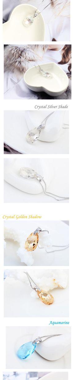 Original SWAROVSKI ELEMENTS crystal drop pendant necklace Aquamarine