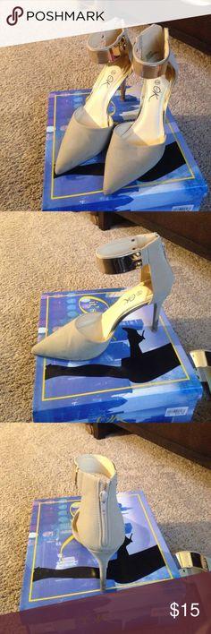 Close toe, suede, ankle straps heels tan heels Shoes Heels