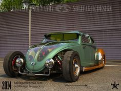 Beetle in the art deco style, with an opened engine. On the frame.